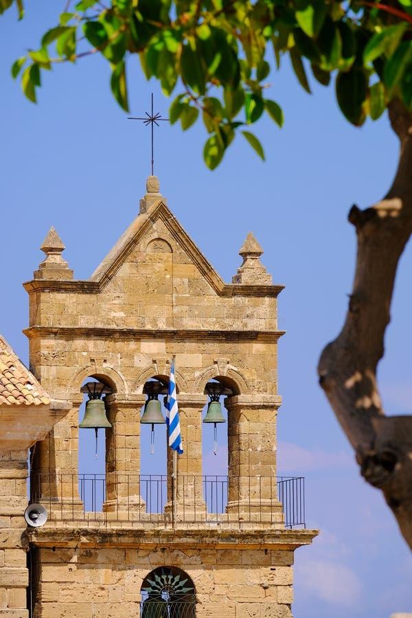 Kerk van de stads de centrale parc van Zakynthos Zantestad royalty-vrije stock afbeeldingen