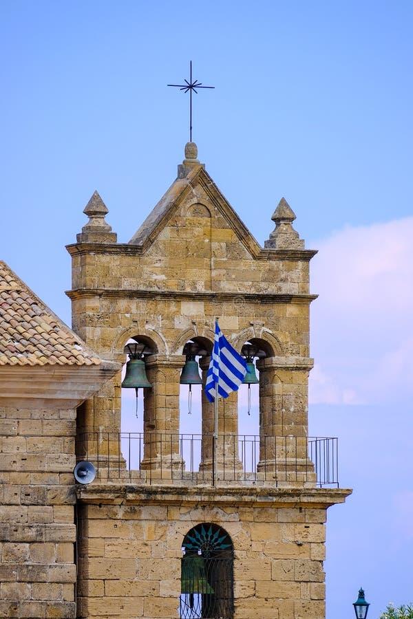 Kerk van de stads de centrale parc van Zakynthos Zantestad royalty-vrije stock foto