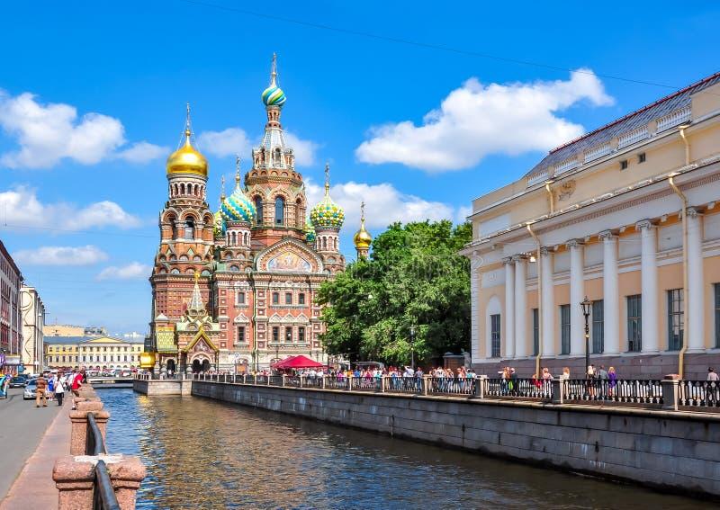Kerk van de Verlosser op Gemorst Bloed, St Petersburg, Rusland stock afbeelding