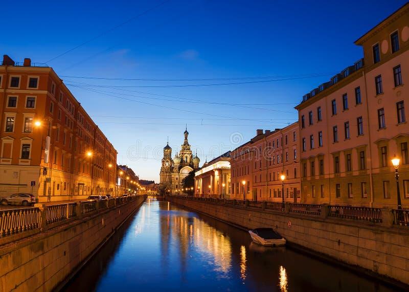 Kerk van de Verlosser op Gemorst Bloed in St. Petersburg, Rusland stock afbeelding