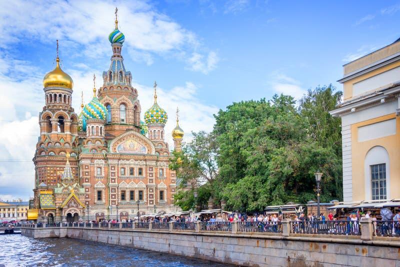 Kerk van de Verlosser op Gemorst Bloed, St. Petersburg Rusland royalty-vrije stock foto's