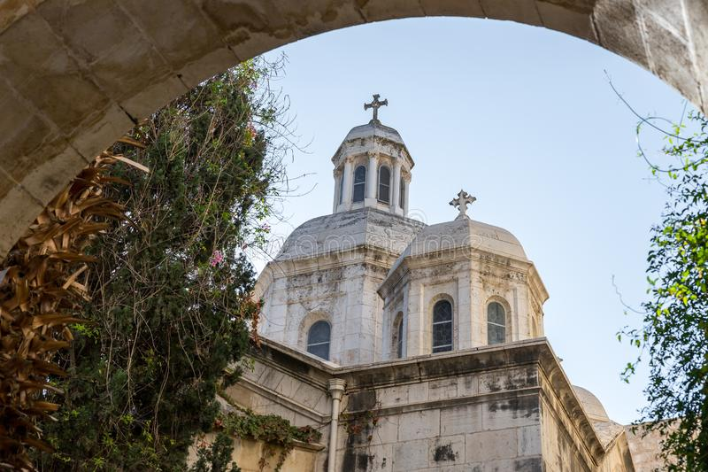 Kerk van de Veroordeling en de Heffing van het Kruis dichtbij Lion Gate in Jeruzalem, Israël stock foto