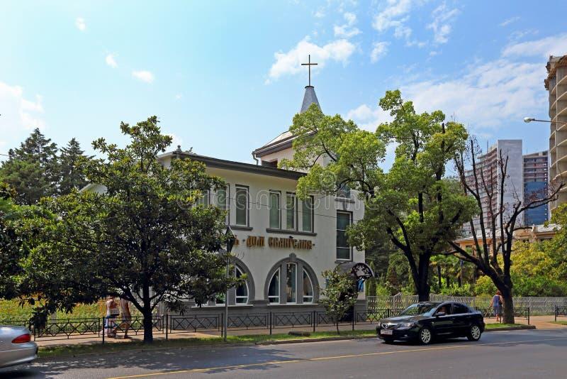 Kerk van Evangelisch Christenenhuis van het evangelie in Sotchi royalty-vrije stock afbeeldingen