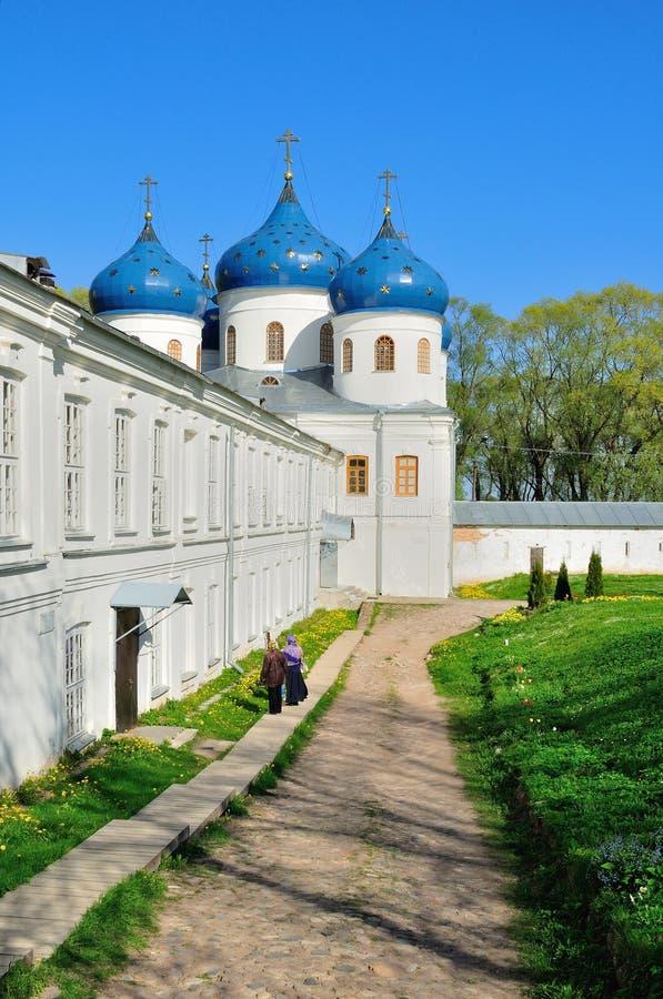 Kerk van Exhaltation van het Kruis, Yuriev-Klooster stock afbeeldingen