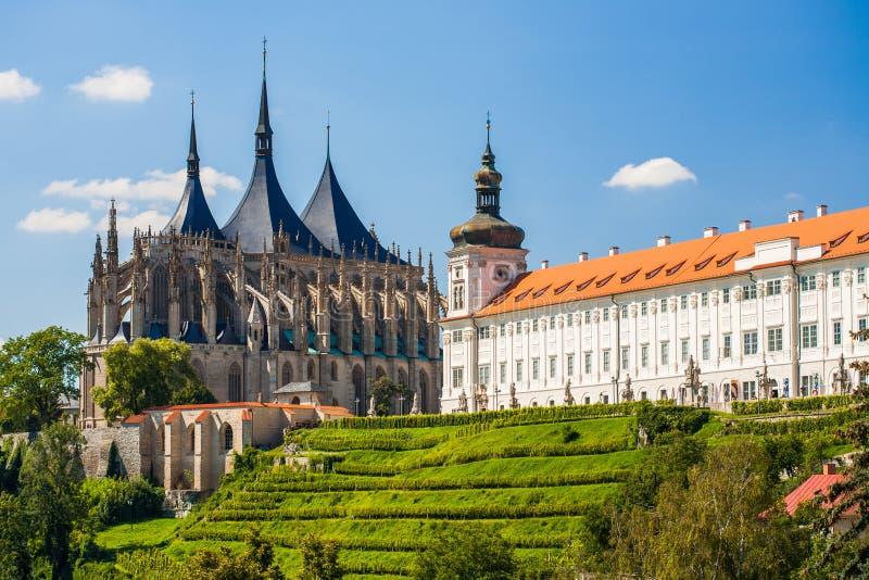 Kerk van Heilige Barbara in Kutna Hora, Tsjechische Republiek. Unesco stock fotografie