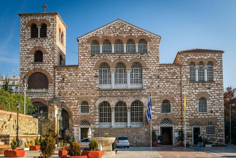 Kerk van Heilige Demetrius, of Hagios Demetrios in Thessoloniki, stock fotografie