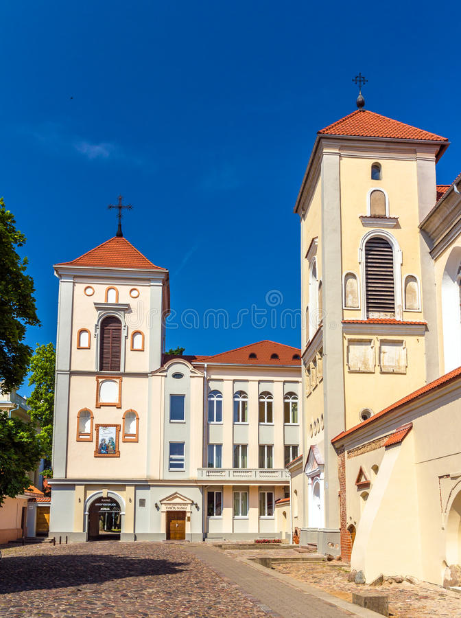 Kerk van Heilige Drievuldigheid in Kaunas stock afbeelding