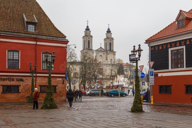 Kerk van Heilige Francis Xavier, in de Oude Stad van Kaunas, Litouwen wordt gevestigd dat royalty-vrije stock afbeelding
