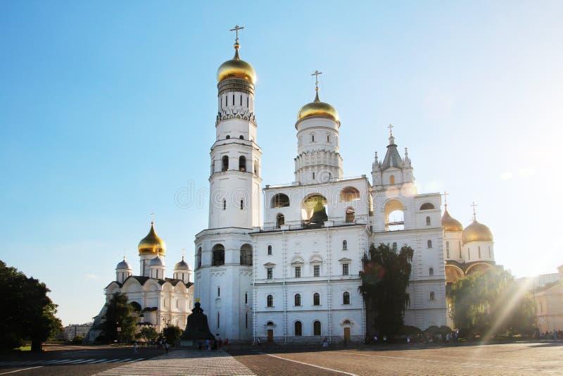 Kerk van Heilige Ioann Lestvichnik en Ivan de Grote Klokketoren, het Kremlin, Moskou royalty-vrije stock foto's