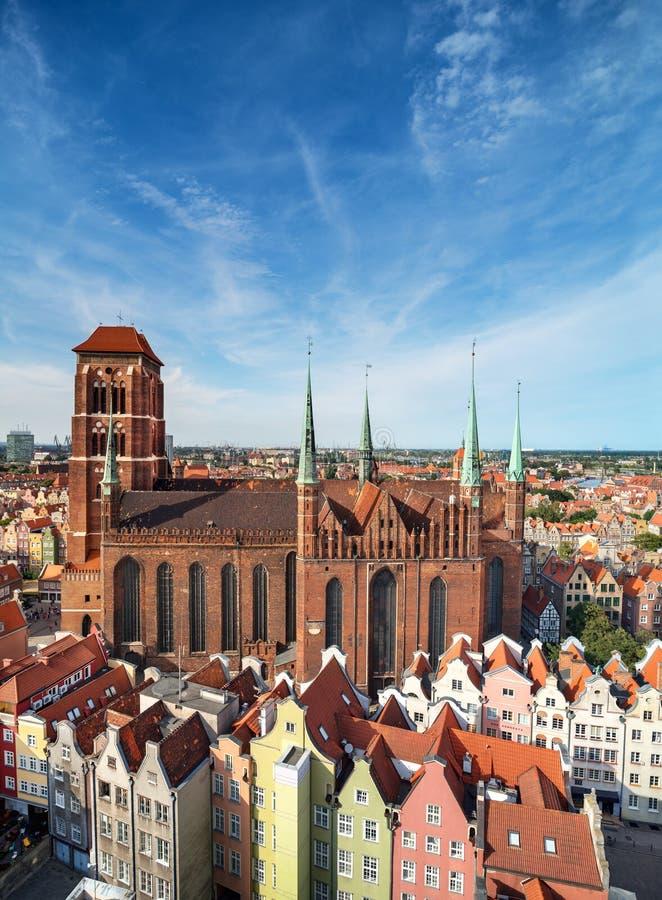 Kerk van Heilige Maagdelijke Mary in Gdansk, Polen stock foto's