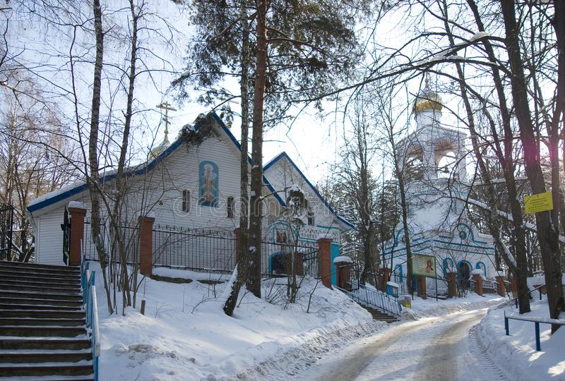 Kerk van Heilige Tikhon, Patriarch van Al Rusland, op Konchalovski stock foto