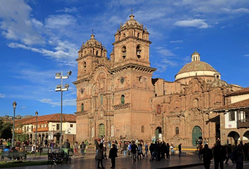 Kerk van het Bedrijf van Jesus of Iglesia DE La Compania DE Jesus op het Belangrijkste Vierkant van Cusco, Peru stock foto