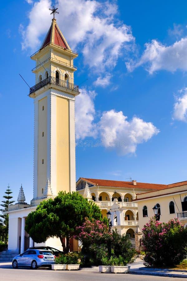 Kerk van het de stads de centrale park van Zakynthos Zantestad royalty-vrije stock foto's