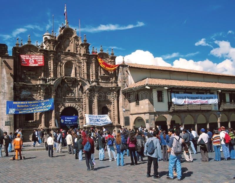 Kerk van La Compañía, Cuzco, Perù, stock foto's