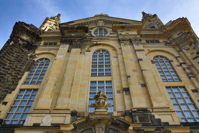 Kerk van onze dame Frauenkirche, de Oude Bouw in Centrum van Stad Dresden, Duitsland stock foto