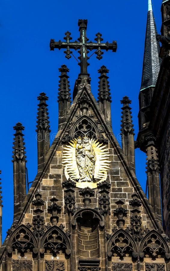Kerk van onze dame vóór tyn in Praag royalty-vrije stock afbeelding