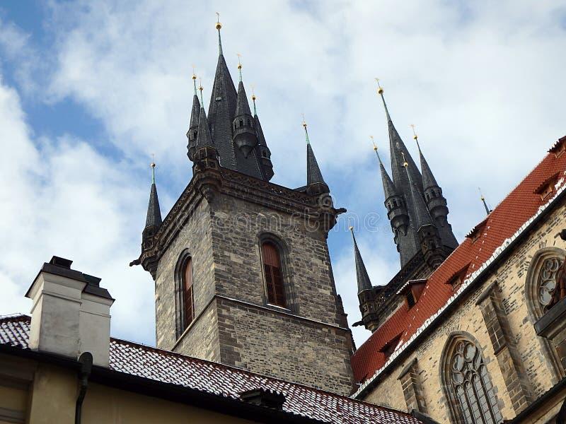 Kerk van Onze Dame vóór Tyn, Tsjechische Republiek, Parochiekerk van de Moeder van God vóór Tyn stock fotografie