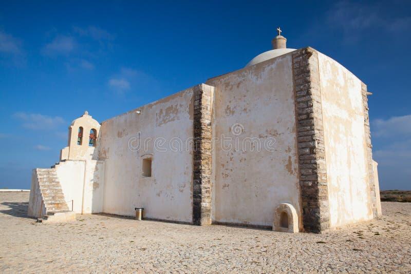 Kerk van Onze Dame van Gunst bij Sagres-Vesting, Algarve, Portugal royalty-vrije stock afbeeldingen