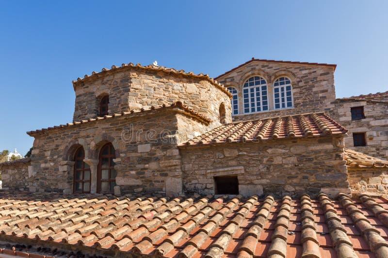 Kerk van Panagia Ekatontapiliani in Parikia, Paros-eiland, Griekenland stock foto