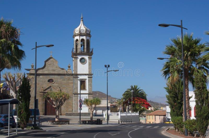 Kerk van San Antonio de Padua in de stad van Granadilla de Abona, Tenerife royalty-vrije stock afbeeldingen