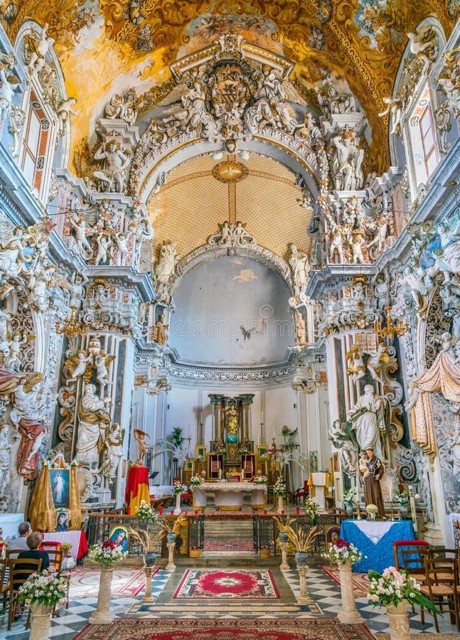 Kerk van San Francesco in Mazara del Vallo, stad in de provincie van Trapan, Sicilië, zuidelijk Italië stock afbeeldingen