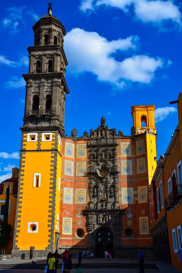 Kerk van San Francisco in Puebla Mexico royalty-vrije stock afbeeldingen