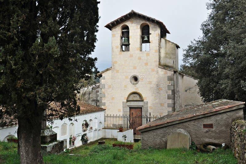 Kerk van Sant Esteve de Olzinelles-Barcelona stock foto's