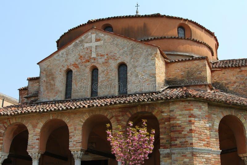 Kerk van Santa Fosca op Torcello-eiland royalty-vrije stock afbeelding