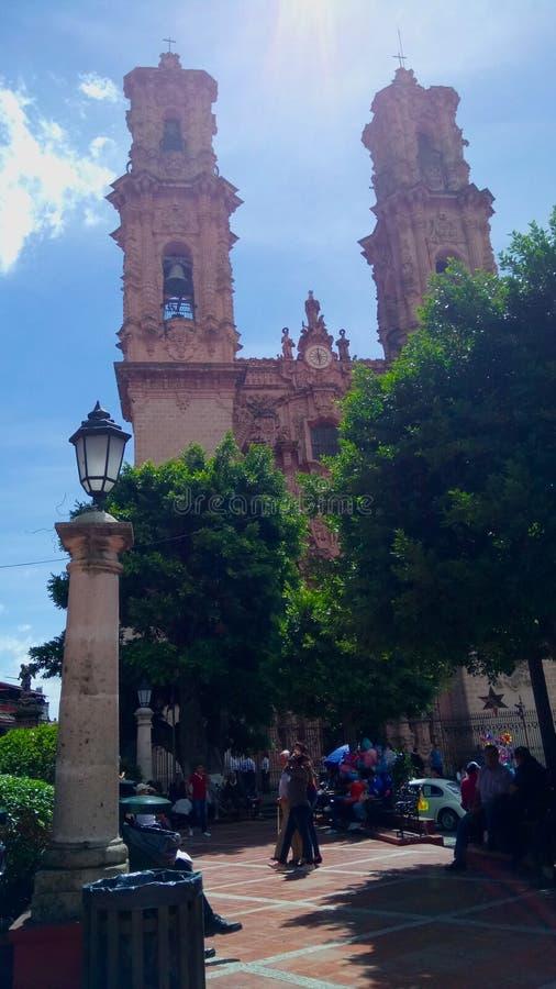 Kerk van Santa Prisca in Taxco Guerrero stock foto's