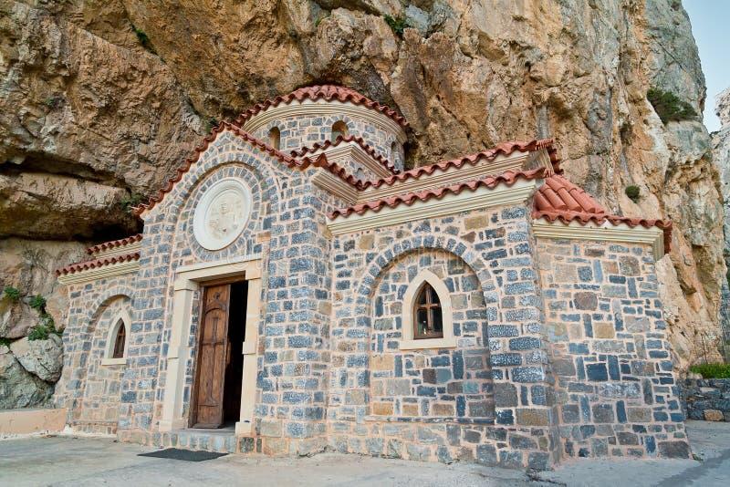 Kerk van Sinterklaas Wonderworker in Kreta stock afbeeldingen