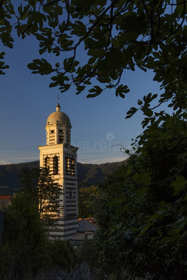 Kerk van St Andrew Chiesa di Sant Andrea - Levanto, La Spezia, Italië - 17 Mei 2016 stock foto's