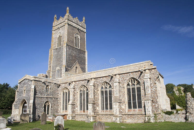 Kerk van St Andrew, Walberswick, Suffolk, Engeland royalty-vrije stock afbeelding