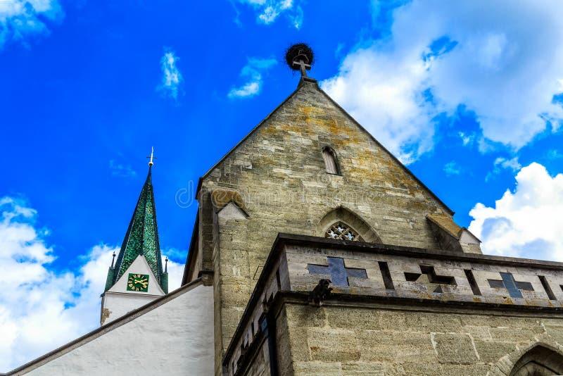 Kerk van St John Baptist Church bij Markt in Slechte Saulgau, Duitsland royalty-vrije stock afbeelding