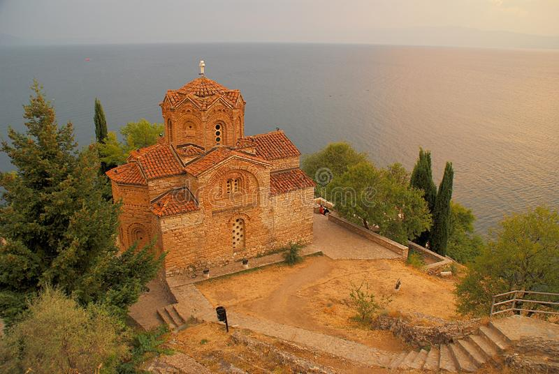 Kerk van St John in Kaneo, Ohrid, Macedonië (FYROM) stock foto's