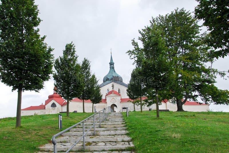 Kerk van St John van Nepomuk in Zelena Hora royalty-vrije stock afbeeldingen