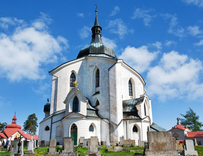 Kerk van St John van Nepomuk, Zelena Hora, Unesco, Zdar-nad Saza stock foto
