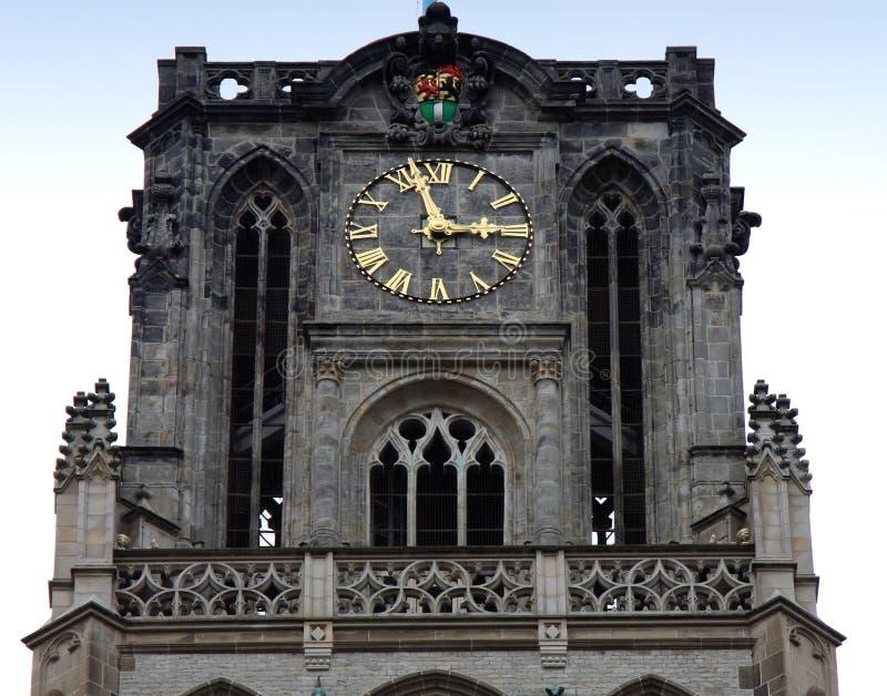 Kerk van St Lawrence en klok op bovenkant in Rotterdam, Holland, N royalty-vrije stock afbeelding