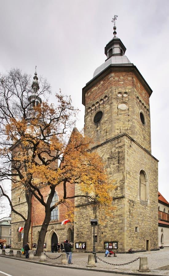 Kerk van St Margaret in Nowy Sacz polen stock foto's