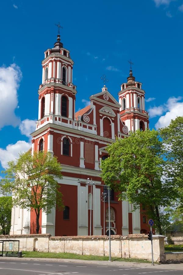 Kerk van St Philip en St Jacob in Vilnius, Litouwen stock foto's