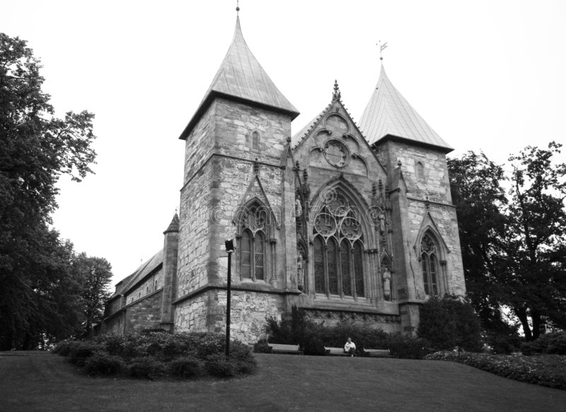 Kerk van Stavanger, Noorwegen royalty-vrije stock afbeelding