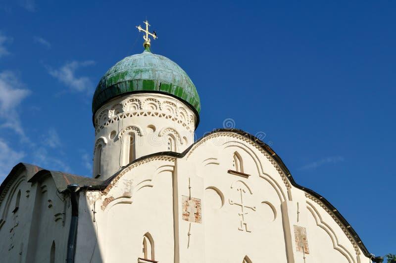 Kerk van StTheodore Stratilates op de Beek in Veliky Novgorod, Rusland royalty-vrije stock foto