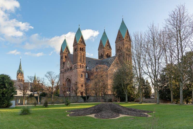 Kerk van Verlosser in Slechte Homburg, Duitsland stock afbeeldingen