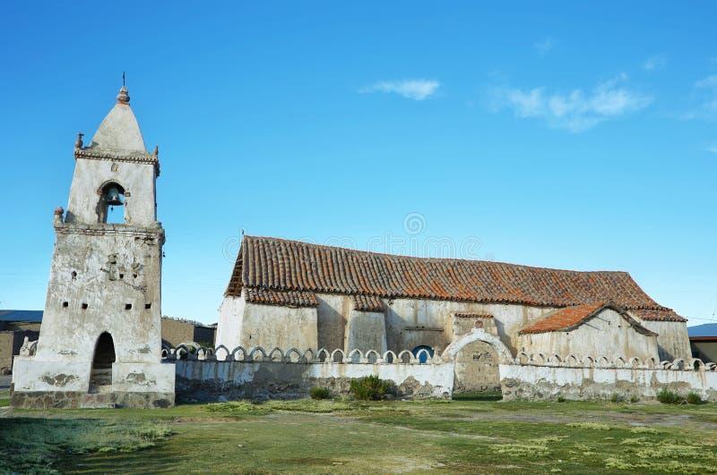 Kerk in Volcano Isluga National Park stock foto