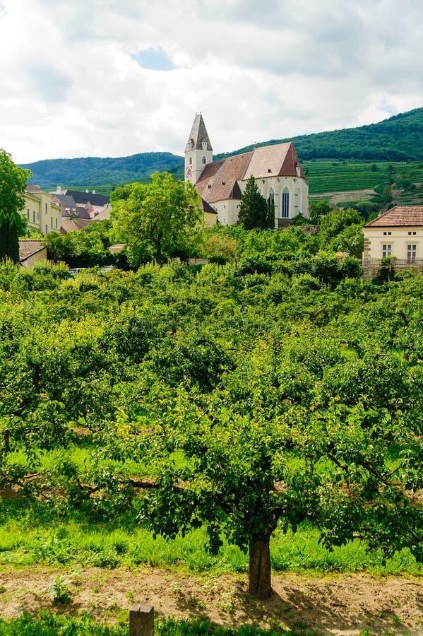 Kerk in Wachau stock foto's