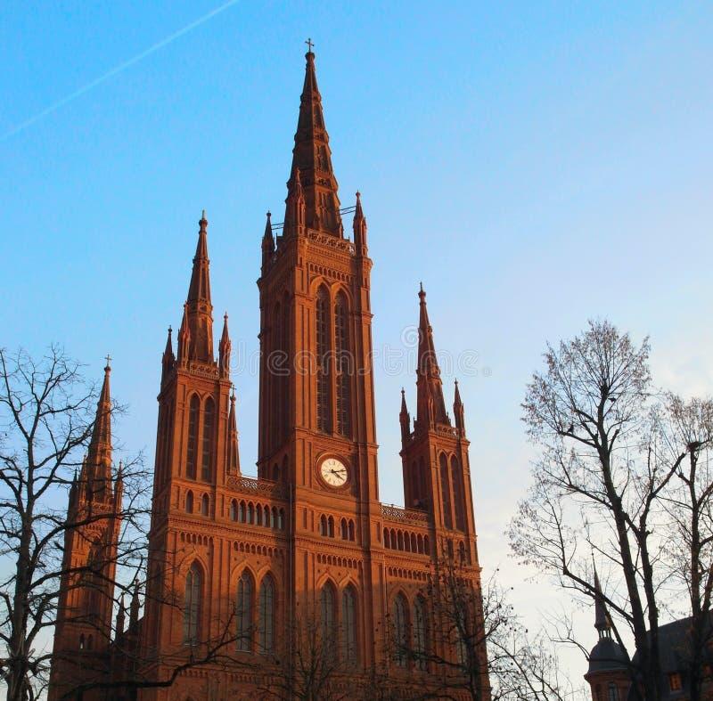 Kerk in Wiesbaden stock foto's