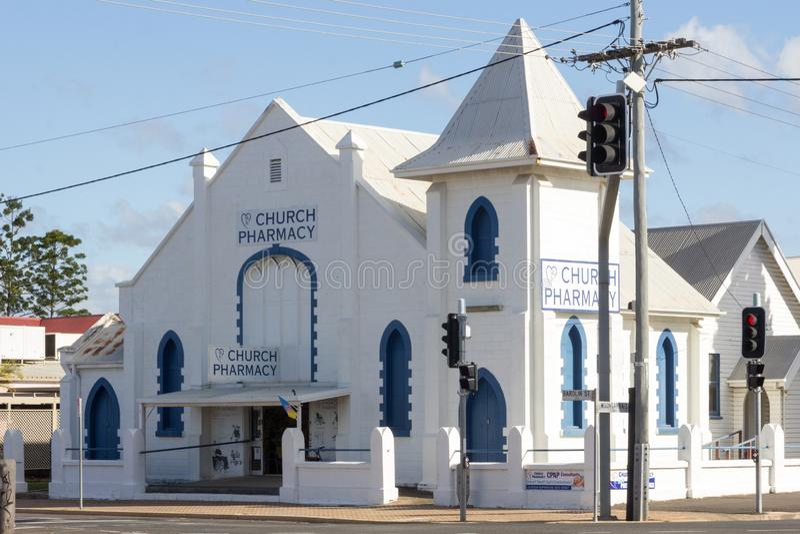 Kerkapotheek vroeger de Kerk van Christus, Bundaberg, Queensland, Australië stock afbeeldingen