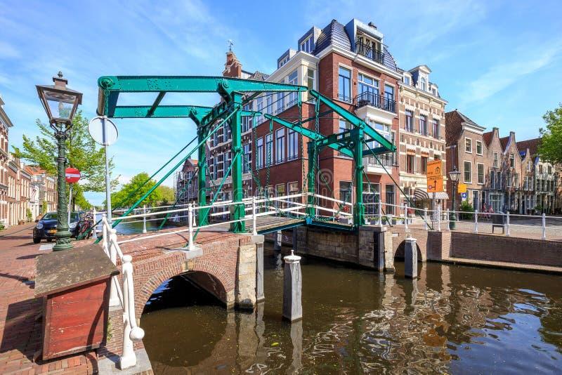 Kerkbrug in Leiden, The Netherlands. Kerkbrug. The traditional iron bridge over the river Oude Rijn in Leiden, The Netherlands royalty free stock images