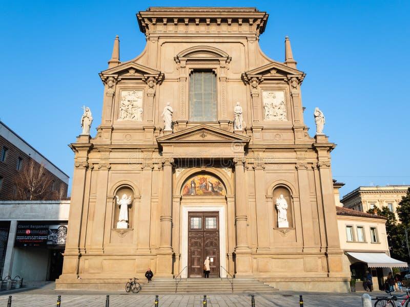 Kerkdei Santi Bartolomeo e Stefano in Bergamo royalty-vrije stock foto