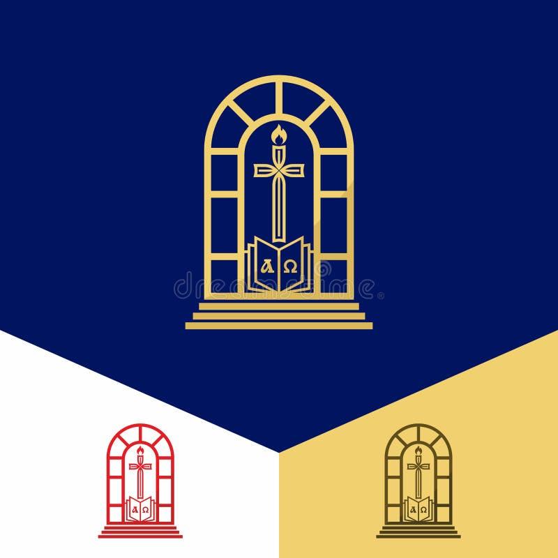 Kerkembleem Christelijke symbolen Altaar, de Heilige Bijbel, het kruis van Jesus Christ en de vlam stock illustratie