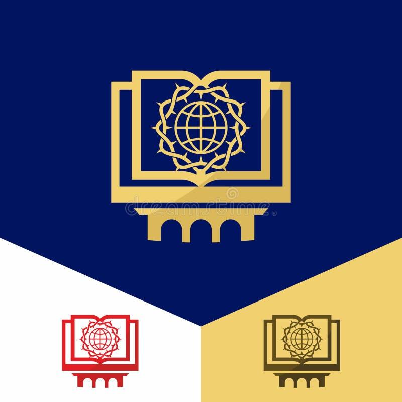 Kerkembleem Christelijke symbolen Bijbel, bol en een kroon van doornen royalty-vrije illustratie